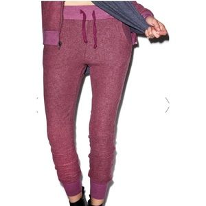 Wildfox Love Story Joggers Sweatpants Wine Red S